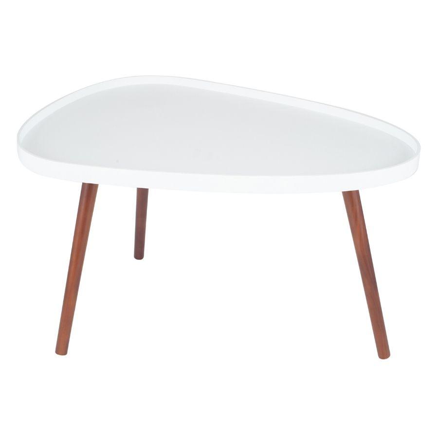 White Brown Pine Wood Teardrop Coffee Table Madden Furniture