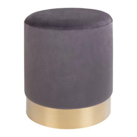 Grey Velvet Pouf