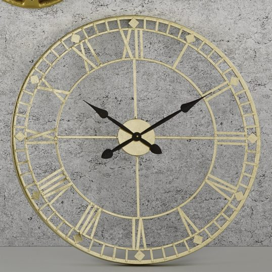 Antique Gold Metal Wall Clock