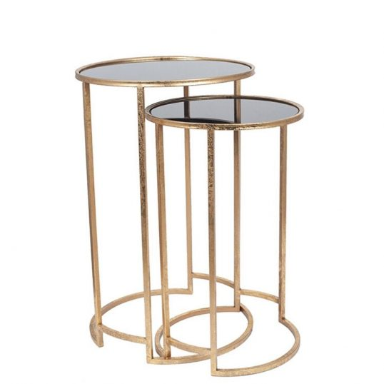 Antique Gold Metal & Black Glass S_2 Round Tables (1)