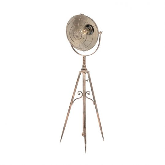 Antique copper hammered back tripod lamp