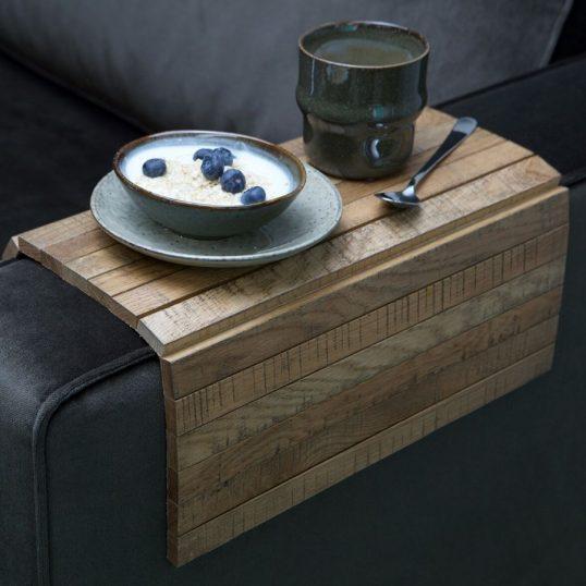 Armrest xl flex sofa tray oak antique finish