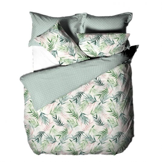 Bali Palm Geometric Duvet Cover Set Green