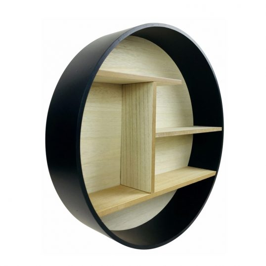 Black Round Shelf Unit 45cm