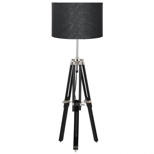 Black Wood Tripod Table Lamp