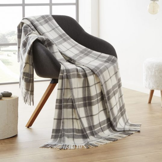 Bocasa Conny Plaid Grey Throw