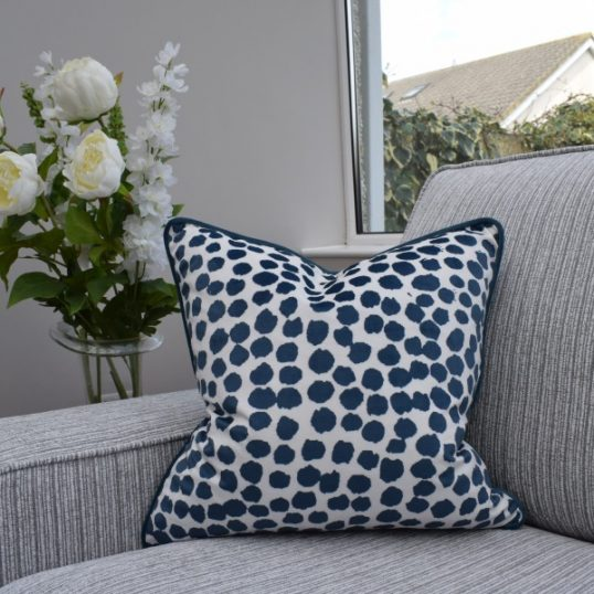 Navy Polka Cushion