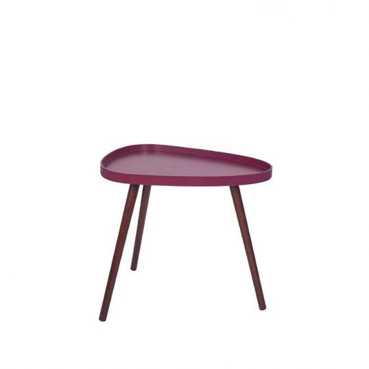 Raspberry and Brown Teardrop Table