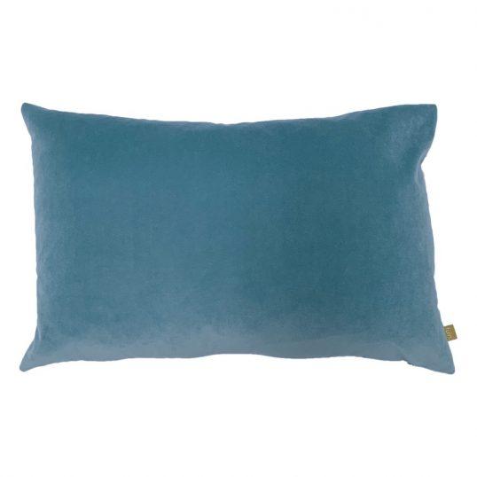 Contra Velvet Linen Cushion in Mist Blue