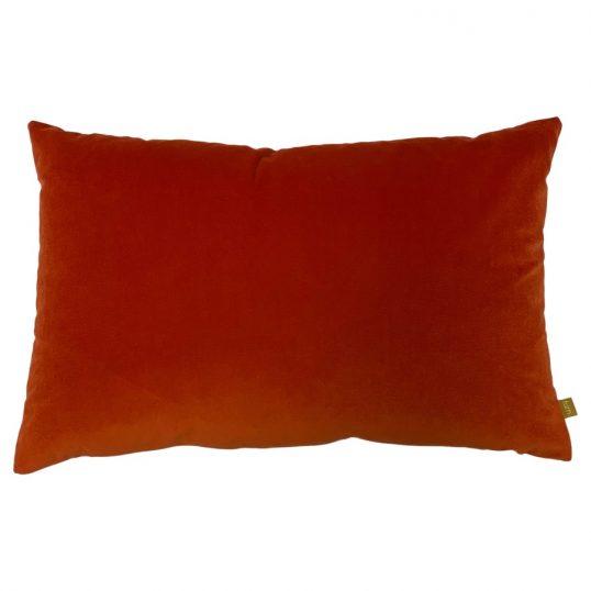 Contra Velvet Linen Cushion in Tangerine