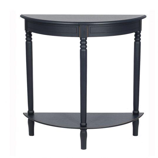 Distressed Black Half Moon Table