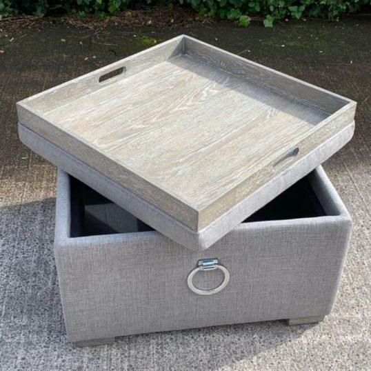Max Xtra Large Tea Tray Footstool Grey