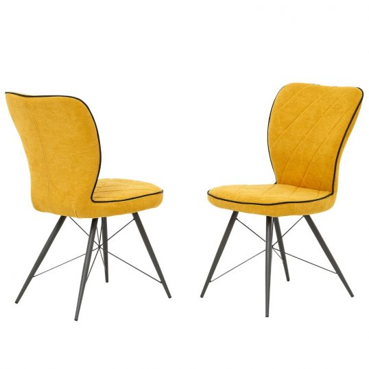 Emily Gold Fabric Dining Chairs