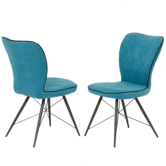 Emily Teal Fabric Dining Chairs