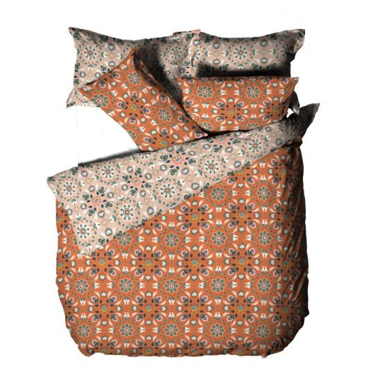 Folk Flora Floral Duvet Cover Set Orange