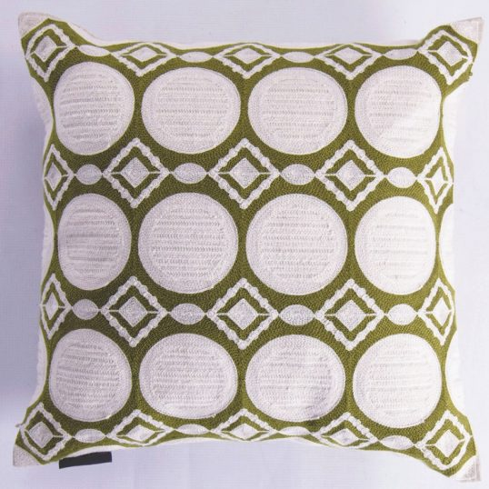 Green circle weave cushion