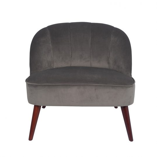 Large Grey Velvet Chair with Walnut Effect Legs