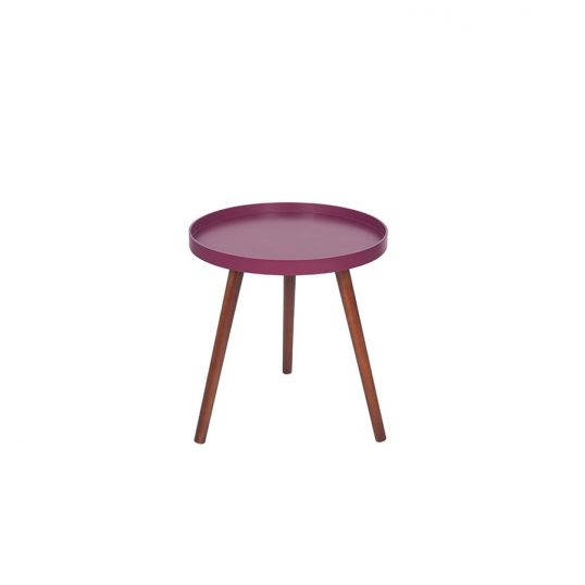 RETRO Raspberry and Brown Pine Wood Round Table