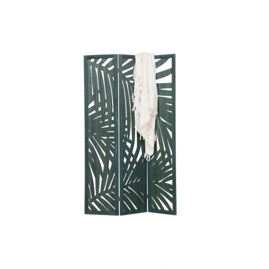 Harper folding screen wood warm green