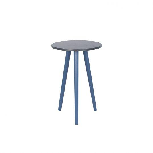 Indigo & Gunmetal Pine Wood Round Side Table