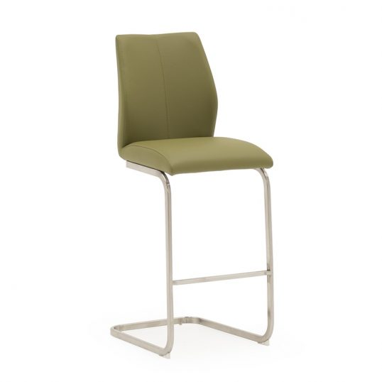 Irma Bar Chair – Brushed Steel Olive