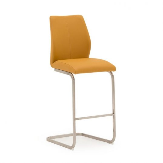 Irma Bar Chair – Brushed Steel Pumpkin