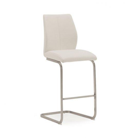 Irma Bar Chair – Brushed Steel White