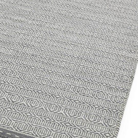 Knox Grey Geometric Wool Rug
