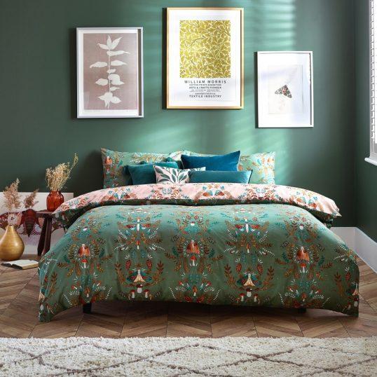 Luna Wood Duvet Cover Set Fern Green