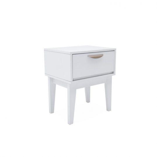 Luna Bedside Table – 1 Drawer – White