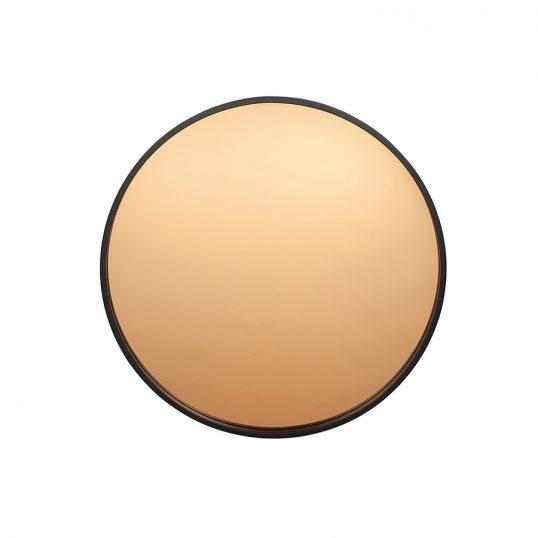 Matt Black Wood Round Mirror Copper Glass