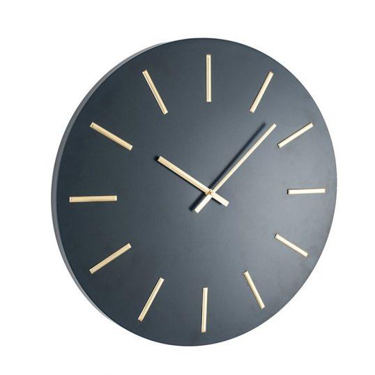 Matt Black and Gold Round Metal Wall Clock