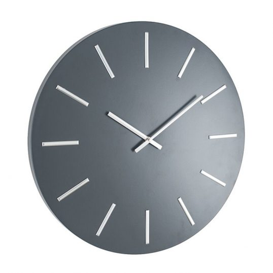 Matt Grey and Silver Detail Round Metal Wall Clock (1)