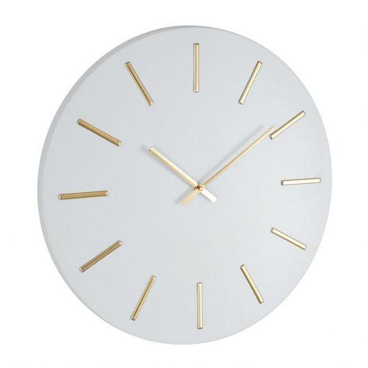 Matt White and Gold Round Metal Wall Clock (1)
