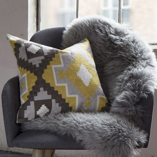 Ethnic Mustard And Grey Cushion