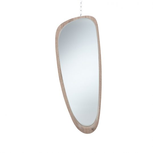 Natural Wood Veneer Teardrop Shaped Mirror 1