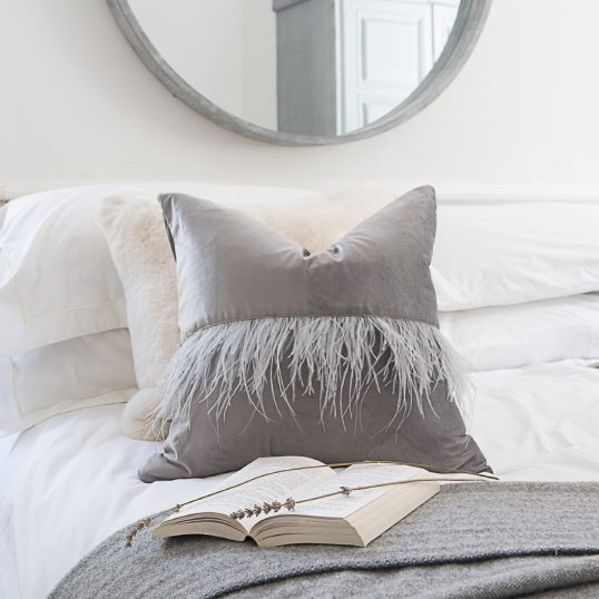 OSTRICH FEATHER VELVET CUSHION VINTAGE GREY
