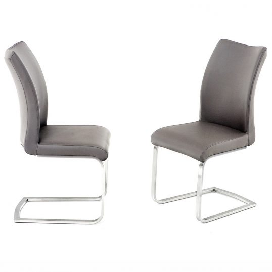 Pada Chair on Brushed Steel Frame Grey