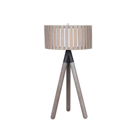 Rabanne Slatted Antique Wood Tripod Table Lamp