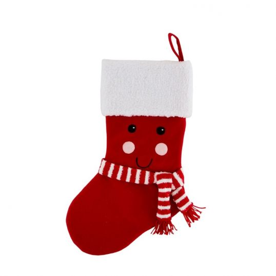 Red Happy Face Christmas Stocking