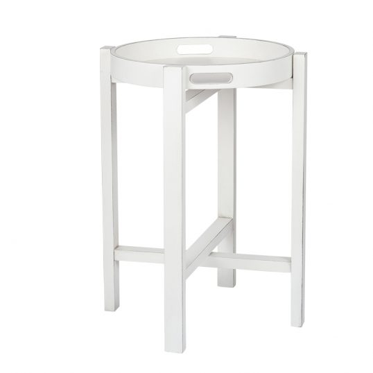 Round Folding Tray Table White