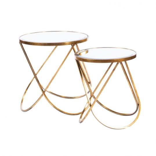 Harriet 2 loop side tables and gold