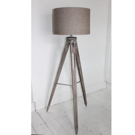 THE FUNKY WOOLSHED TRIPOD LAMP HERRINGBONE BEIGE