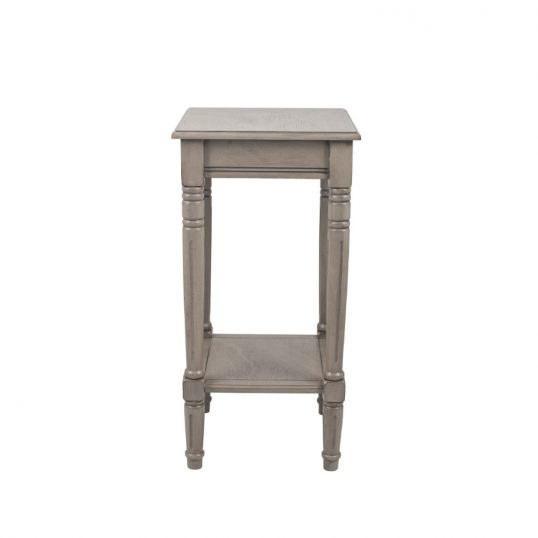Taupe Pine Wood Square Accent Table