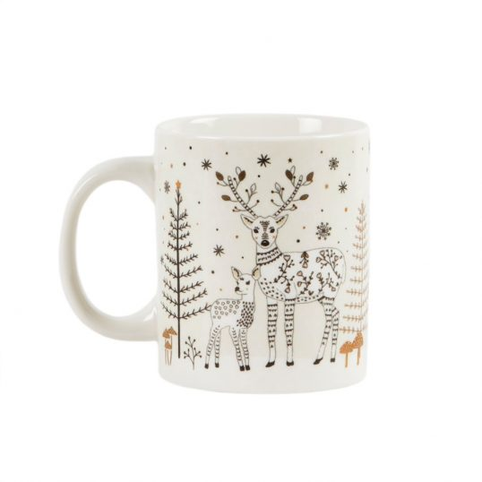 WINTER FOREST FOLK DEER MUG