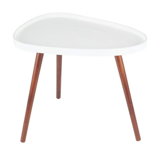 White & Brown Pine Wood Teardrop Side Table