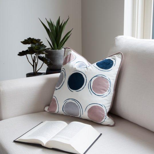 Circles Pink and Navy Cushion