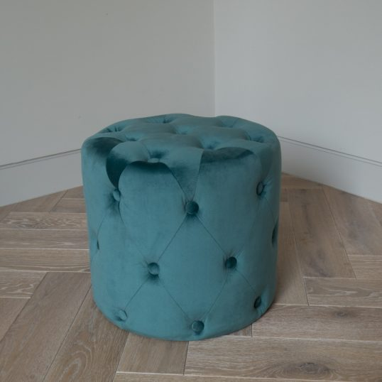 VELVET BUTTON FOOT STOOL GREEN