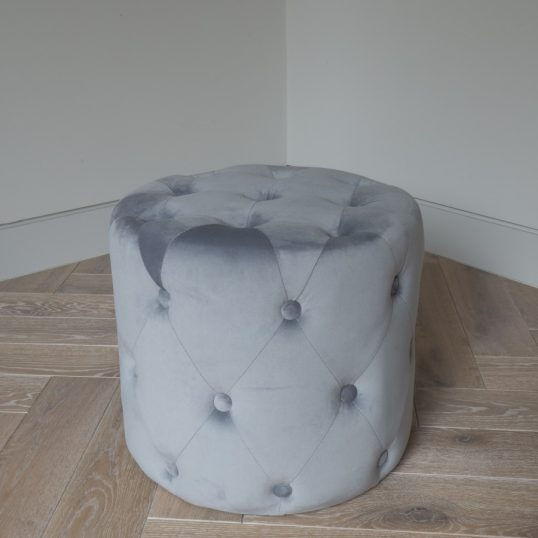 VELVET BUTTON FOOT STOOL GREY