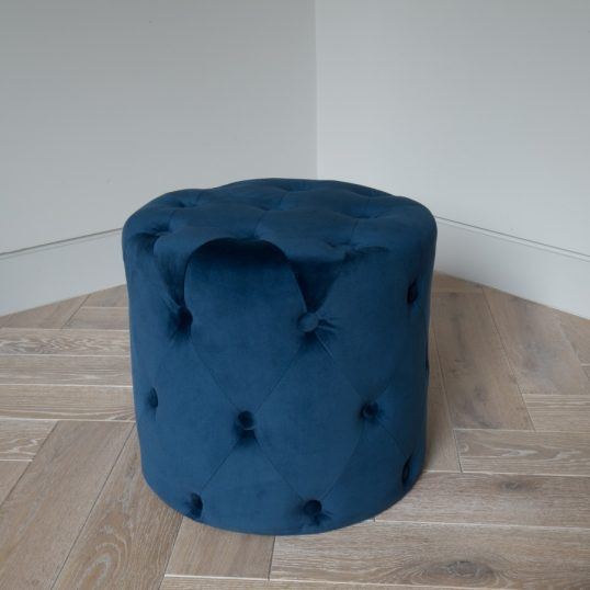 VELVET BUTTON FOOT STOOL NAVY